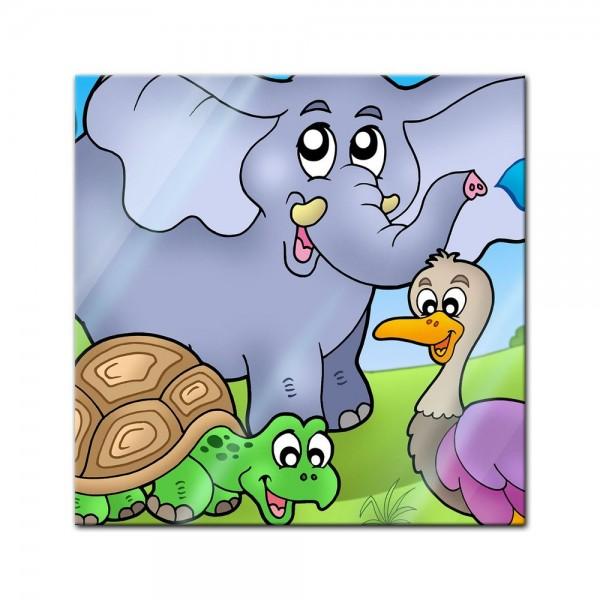 Glasbild - Kinderbild tropische Tiere