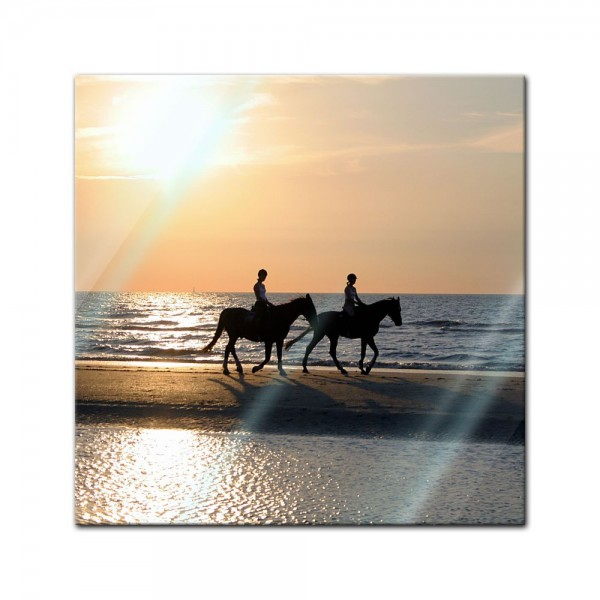 Glasbild - Reiter im Sonnenuntergang