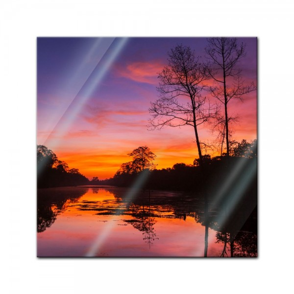 Glasbild - Tropischer Sonnenuntergang