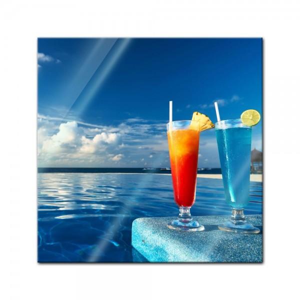 Glasbild - Cocktail am Swimmingpool