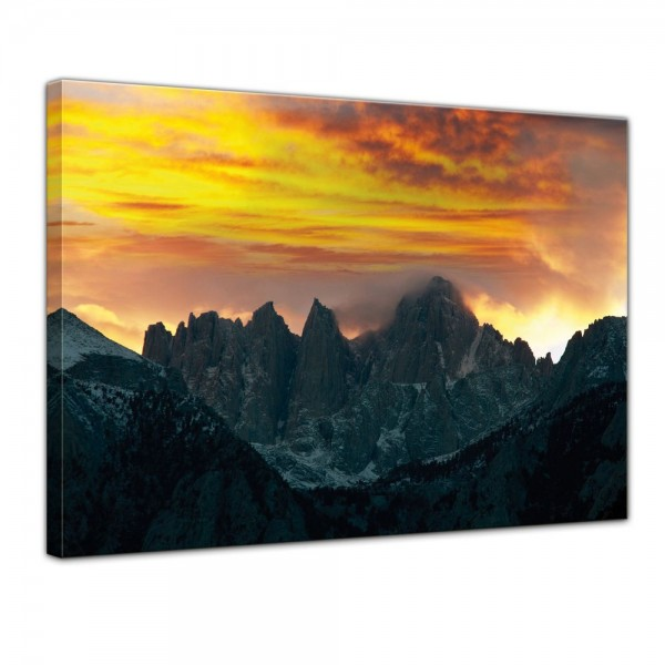 SALE Leinwandbild - Berglandschaft im Sonnenuntergang - 60x50 cm