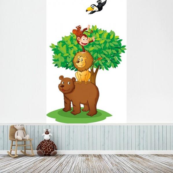 selbstklebende Fototapete - Kinderbild - Baum mit Tieren II - Tierpyramide