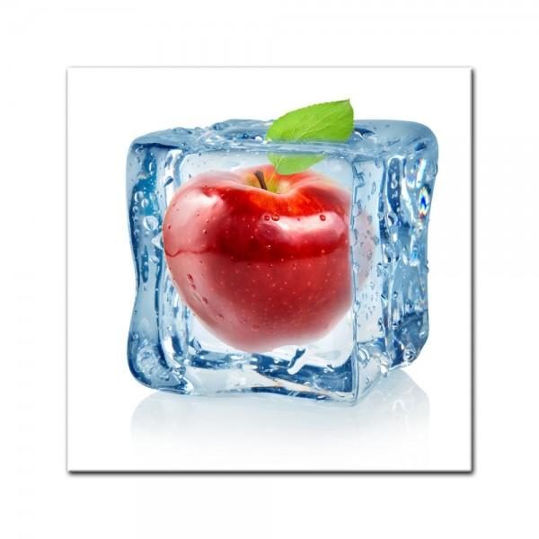 Leinwandbild - Eiswürfel Roter Apfel
