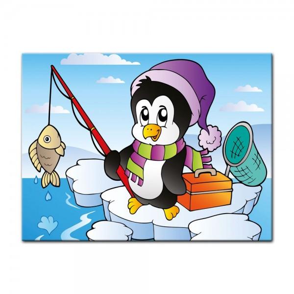 Leinwandbild - Kinderbild - fischender Pinguin