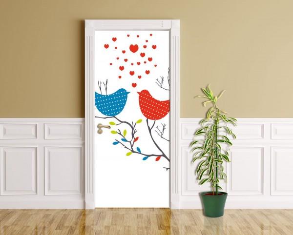 Türaufkleber - Verliebte Vögel