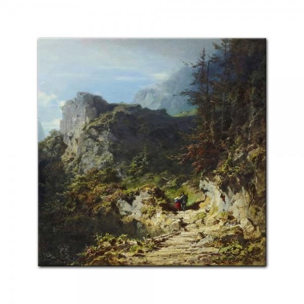 Leinwandbild - Carl Spitzweg - Berglandschaft mit Liebespaar (Jäger und Mädchen) - Quadrat