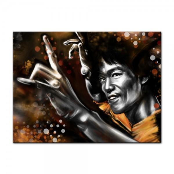 Leinwandbild - Bruce Lee in gelb