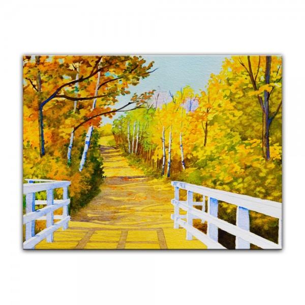 Leinwandbild - Aquarell Waldweg im Herbst