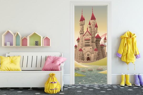 Türaufkleber - Kinderbild Burg - Vintage