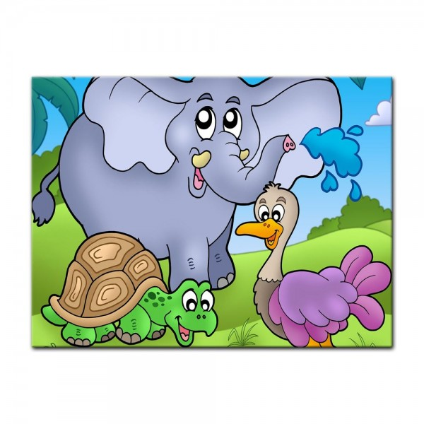 Leinwandbild - Kinderbild - tropische Tiere