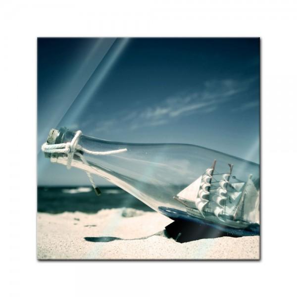 Glasbild - Buddelschiff - Schiff in der Flasche