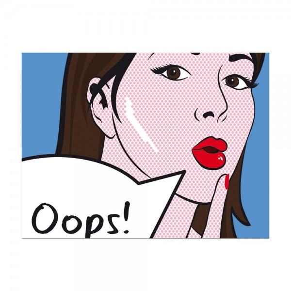 Leinwandbild - Pop-Art Oops Frau