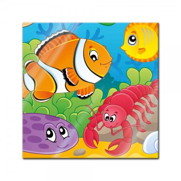 Glasbild - Kinderbild Unterwasser Tiere VI