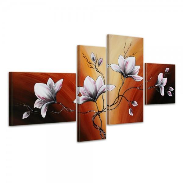 Blumen M15 - Leinwandbild 4 teilig 120x70cm Handgemalt