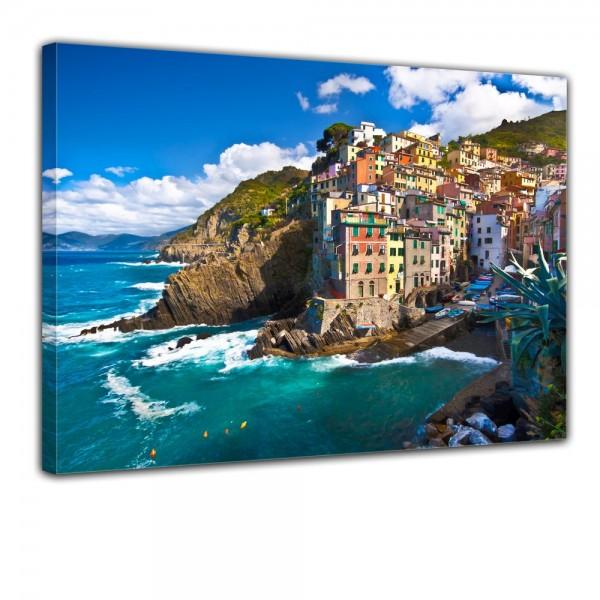 SALE Leinwandbild - Riomaggiore Fischerdorf Cinque Terre I - 60x50 cm