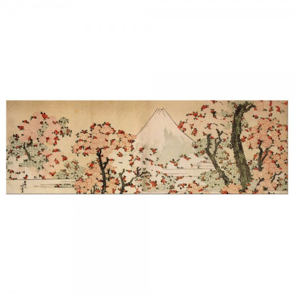 Leinwandbild - Katsushika Hokusai - Blick auf den Fujijama mit blühenden Kirschbäumen