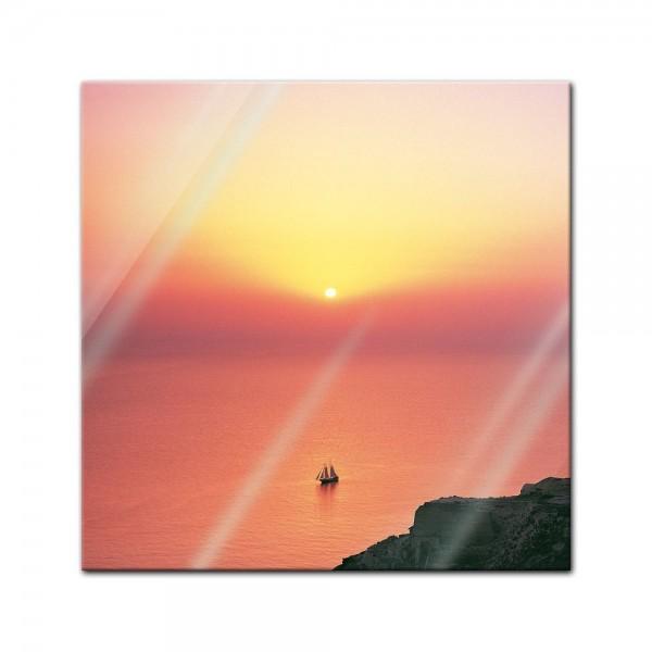 Glasbild - Mediteraner Sonnenuntergang