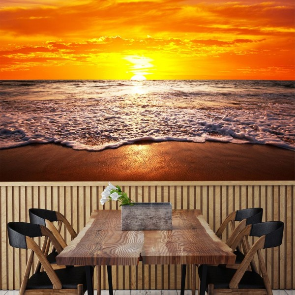 SALE Fototapete Strand Sonnenuntergang - 100 cm x 65cm - farbig