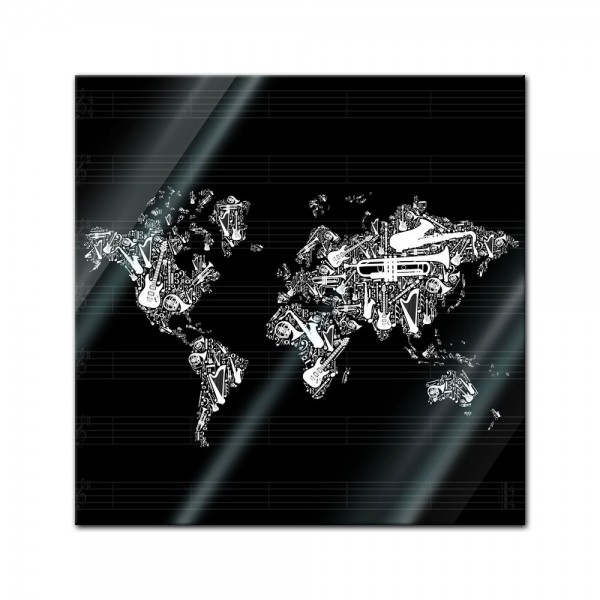 Glasbild - Weltkarte Musik