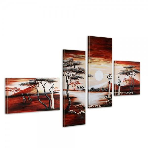 SALE Sunset in Africa - Leinwandbild 4 teilig 140x80cm Handgemalt