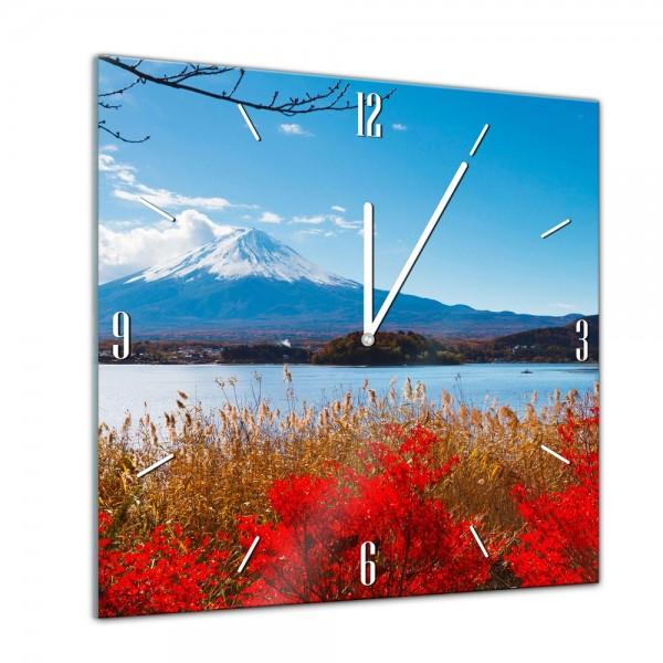 Glasuhr - Städte, Seen & Landschaften - Fuji im Herbst - 40x40cm