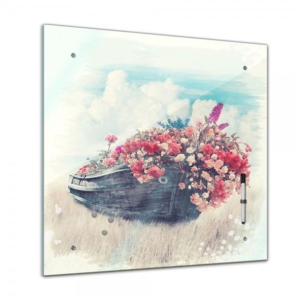 Memoboard - Aquarelle - Altes Boot mit Blumen - 40x40 cm