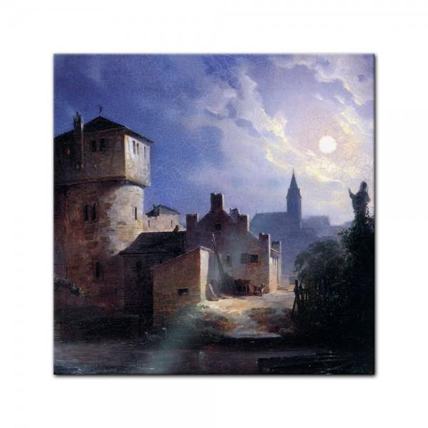 Glasbild Carl Spitzweg - Alte Meister - Mondschein über dem Dorf