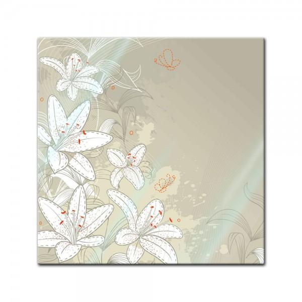 Glasbild - Lilie - grau gezeichnet