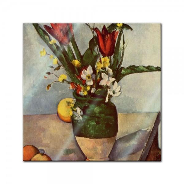 Glasbild Paul Cézanne - Alte Meister - Stillleben mit Tulpen und Äpfel