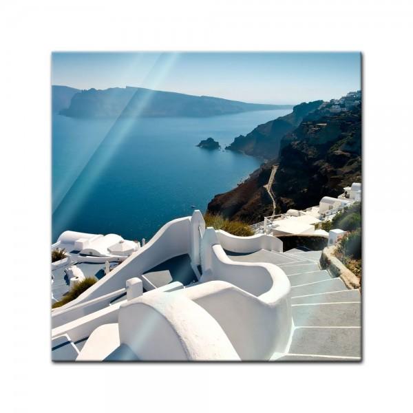Glasbild - Santorini Treppe - Griechenland