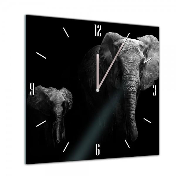 Glasuhr - Tiere - schwarz weiss Elefanten - 40x40cm