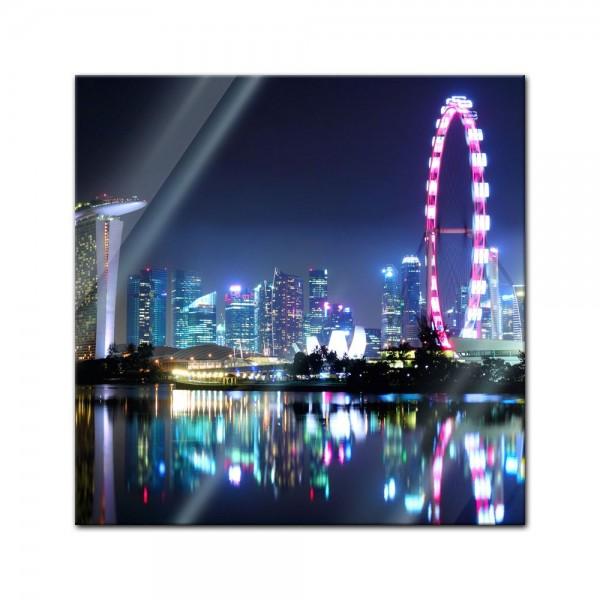 Glasbild - Singapur bei Nacht