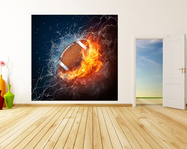 Fototapete - Football - Feuer und Eis