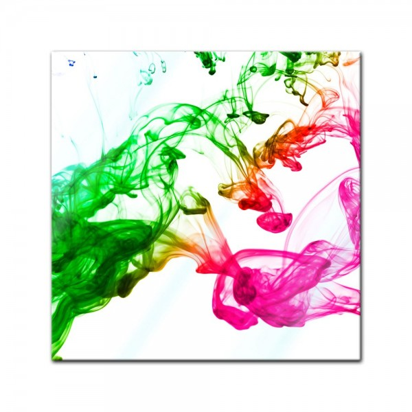 Glasbild - Bunte Tintentropfen