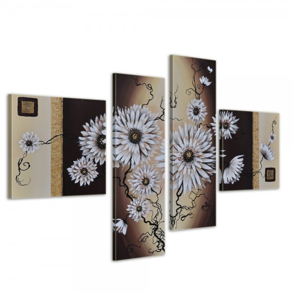 SALE Blumen M2 - Leinwandbild 4 teilig 100x70cm Handgemalt