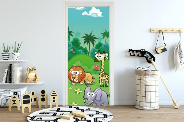 Türaufkleber - Kinderbild Dschungeltiere Cartoon I