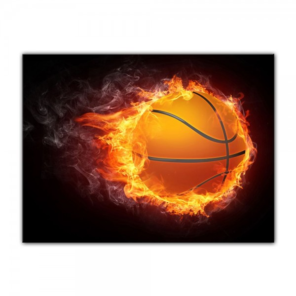Leinwandbild - Basketball Feuer