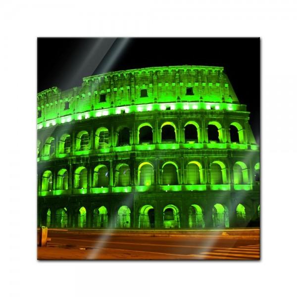 Glasbild - Kolosseum bei Nacht - grün