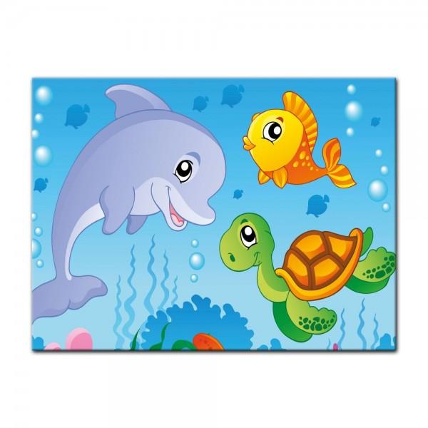 Leinwandbild - Kinderbild - Unterwasser Tiere III