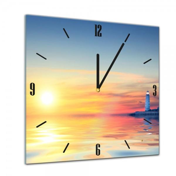 Glasuhr - Sonne, Strand und Meer - Leuchtturm im Sonnenuntergang - 40x40cm