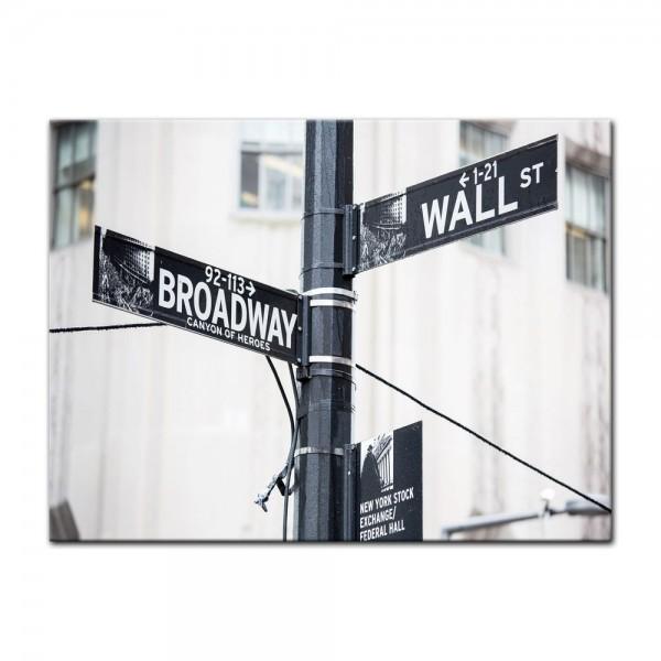 Leinwandbild - Wallstreet - Broadway - Strassenschild