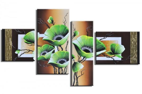 Abstrakte Pflanze handgemaltes Leinwandbild 120x70cm 4 teilig 3022