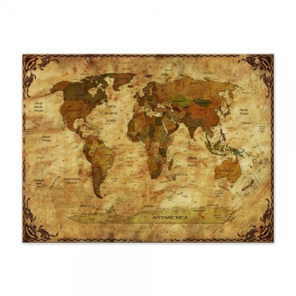 Leinwandbild - Weltkarte retro II Rahmen