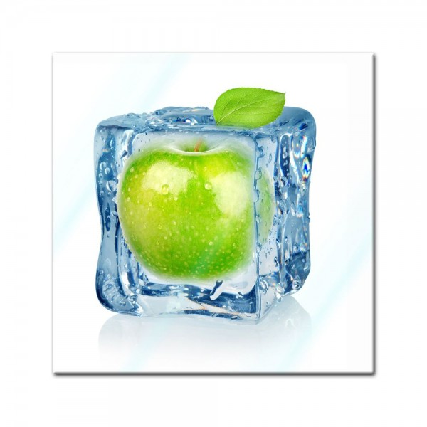 Glasbild - Eiswürfel Apfel