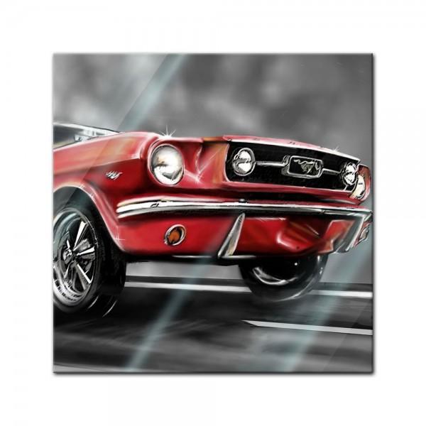 Glasbild - Mustang Graphic - rot