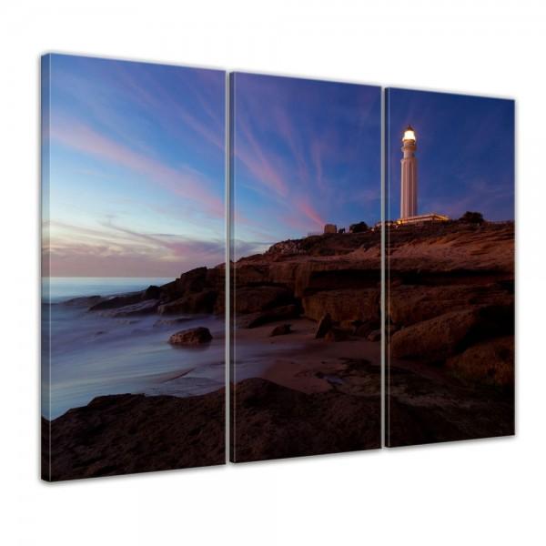 SALE Leinwandbild - Leuchtturm von Trafalgar, Cadiz 150x90 cm 3tlg