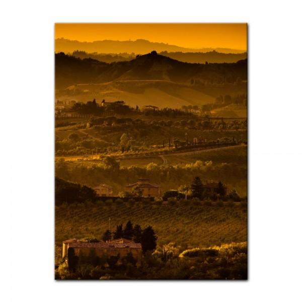 Leinwandbild - Toskana im Sonnenuntergang