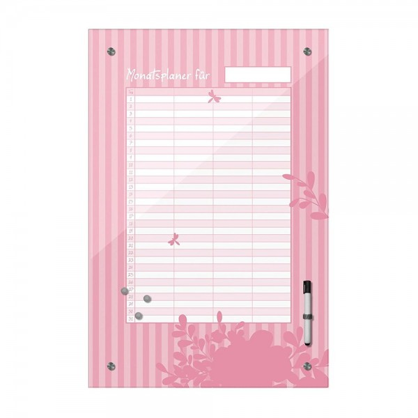 Memoboard - Monatsplaner - rosa