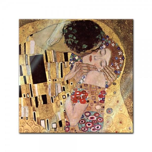 Glasbild Gustav Klimt - Alte Meister - Der Kuss