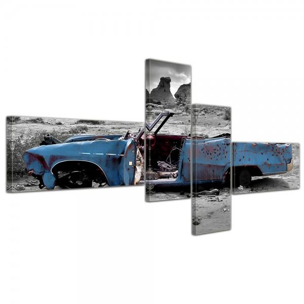 SALE Leinwandbild - Cadillac blau 200x90 cm 4tlg